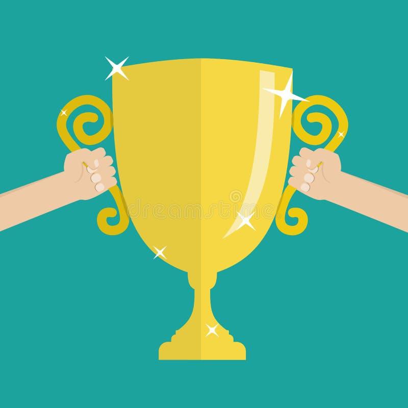 Trofeo dell'oro di calcio di calcio per il vincitore illustrazione vettoriale