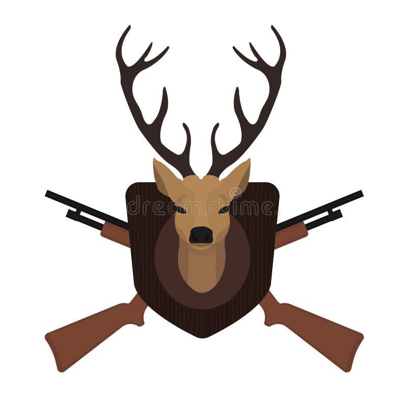 Trofeo di caccia Testa farcita dei cervi di tassidermia illustrazione di stock