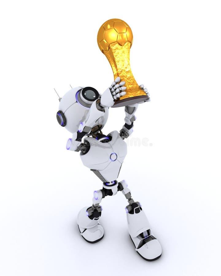 Trofeo di sollevamento di calcio del robot illustrazione vettoriale