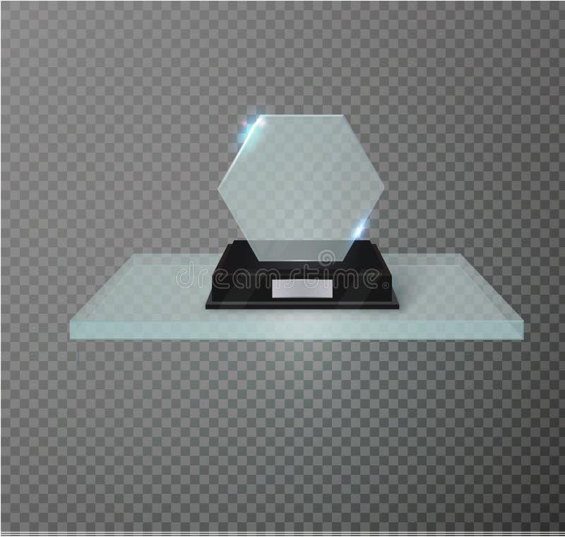 Trofeo di vetro in bianco del premio su un fondo trasparente Scaffale di vetro illustrazione di stock