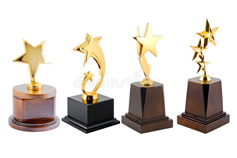 Trofeo dorato della stella fotografia stock libera da diritti
