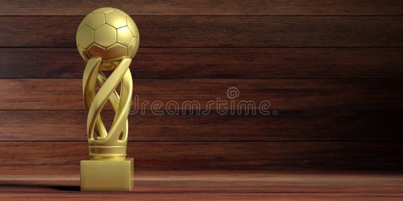 Trofeo dorato di calcio di calcio su fondo di legno illustrazione 3D illustrazione vettoriale