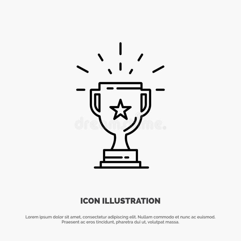 Trofeo, logro, premio, negocio, premio, triunfo, línea vector del ganador del icono libre illustration
