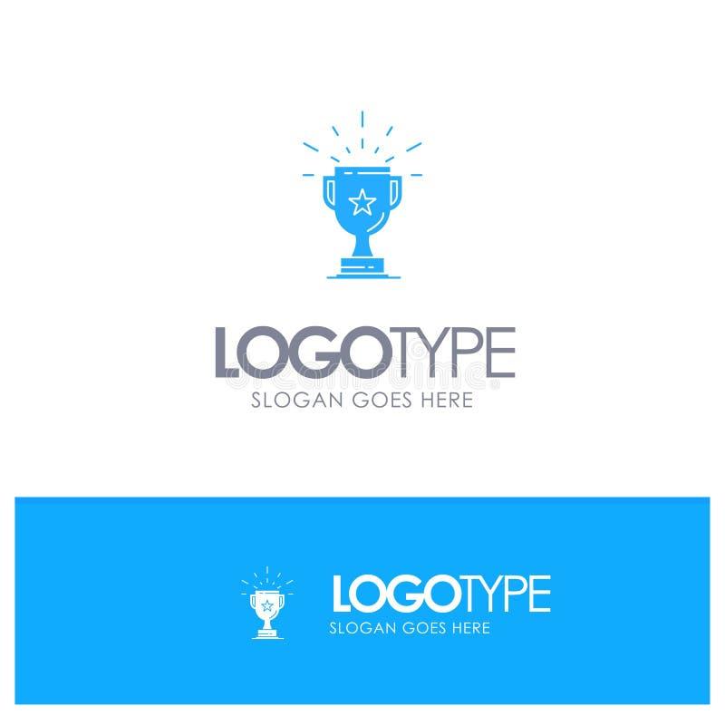 Trofeo, logro, premio, negocio, premio, triunfo, logotipo sólido azul del ganador con el lugar para el tagline ilustración del vector