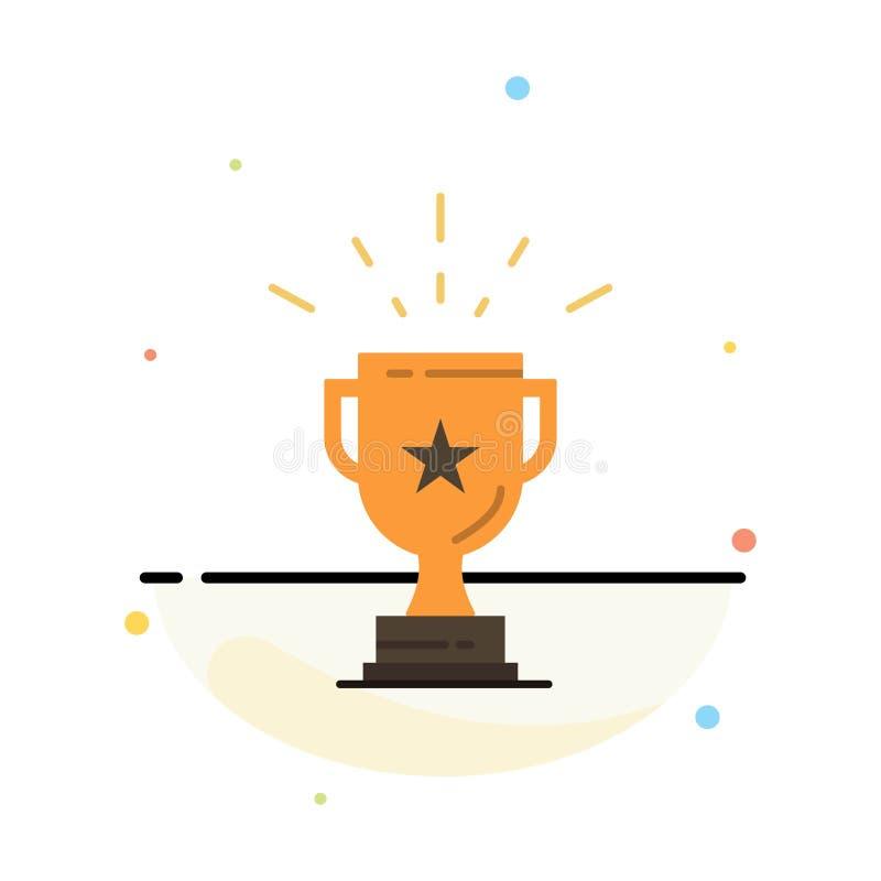 Trofeo, logro, premio, negocio, premio, triunfo, plantilla plana del icono del color del extracto del ganador stock de ilustración