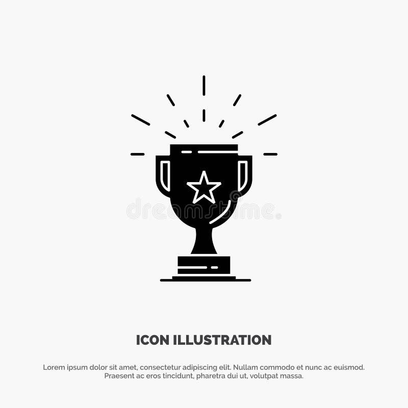 Trofeo, logro, premio, negocio, premio, triunfo, vector sólido del icono del Glyph del ganador stock de ilustración