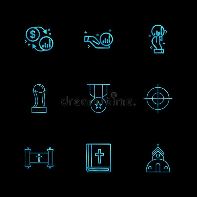 trofeo, medaglia, fuoco, bibbia, chiesa, religione, moneta, bambola illustrazione di stock