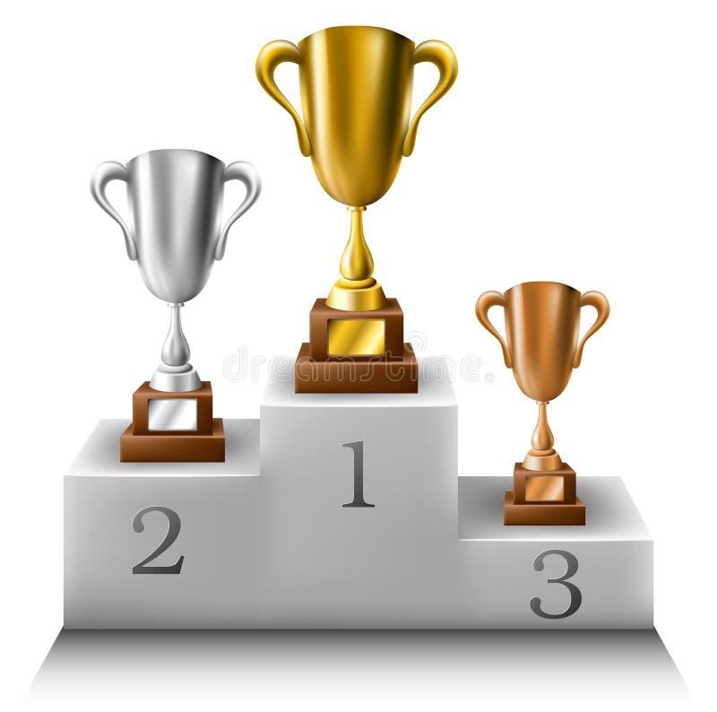 Trofeo messo sul podio dei vincitori illustrazione di stock