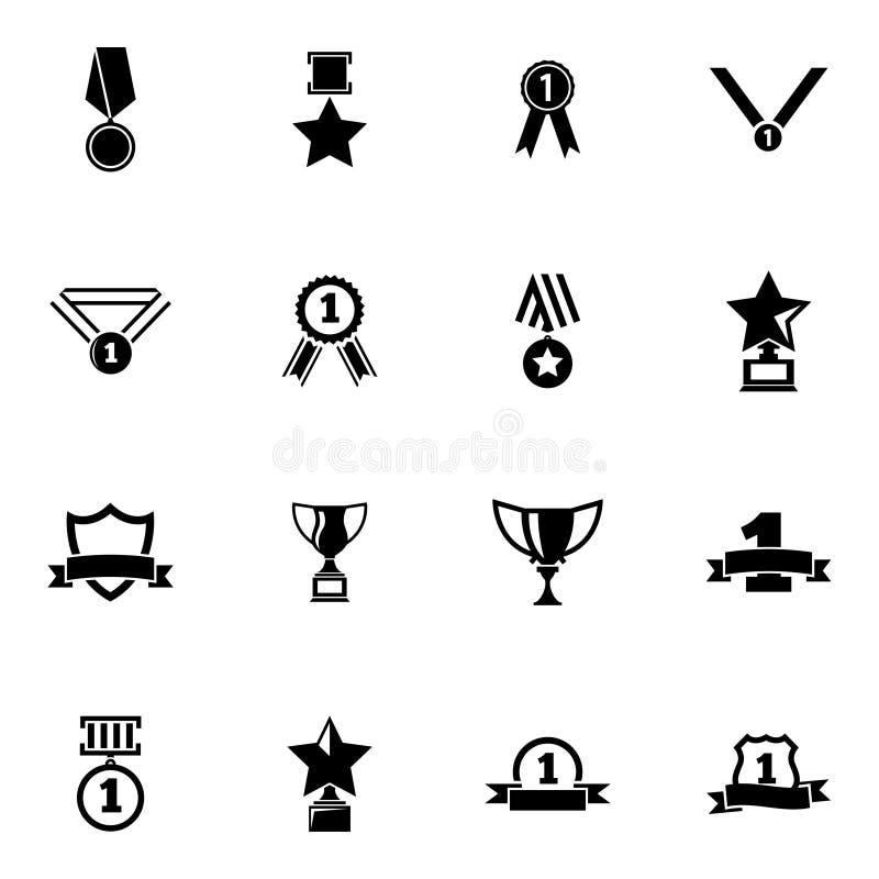 Trofeo negro del vector e iconos de los premios fijados ilustración del vector