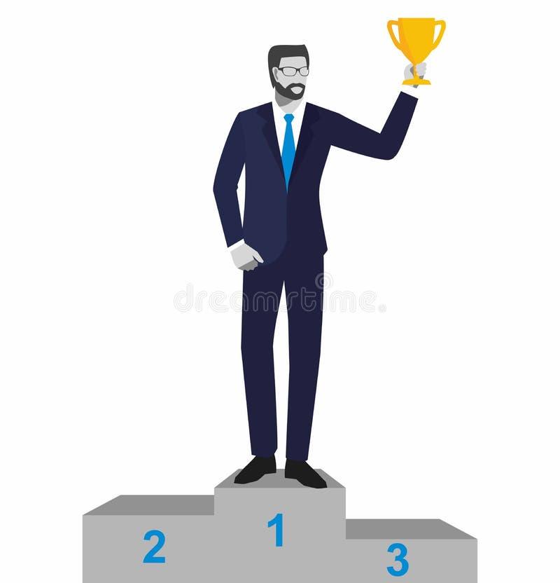Trofeo que gana del hombre de negocios Hombre de negocios o encargado que se coloca en el podio de los ganadores con la taza prem libre illustration