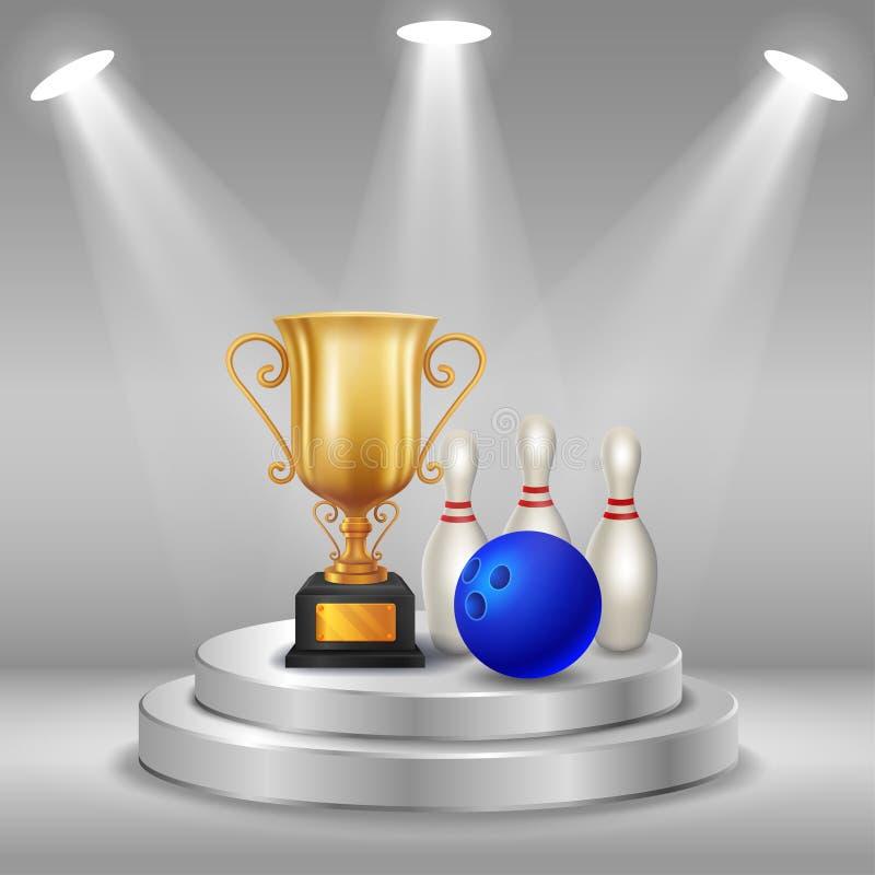 Trofeo realista, bolos y bola con el fondo del ganador Primer lugar de la competencia Podio con los proyectores stock de ilustración
