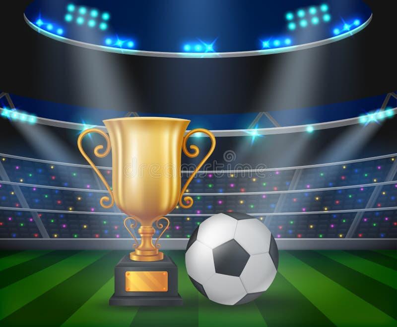 Trofeo y balón de fútbol en el podio con un fondo del estadio de fútbol stock de ilustración