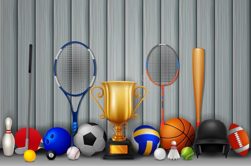 Trofeo y equipo de deporte con el color de fondo blanco y gris  stock de ilustración