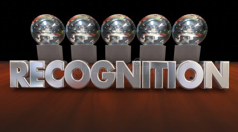 Trofeos 3d Illustratio del aprecio de la ceremonia de premios del reconocimiento ilustración del vector