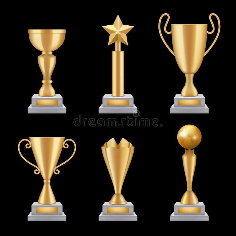 Trofeos del premio realistas Ejemplos del vector 3d de los símbolos de la estrella del éxito del deporte de la taza de oro aislad stock de ilustración