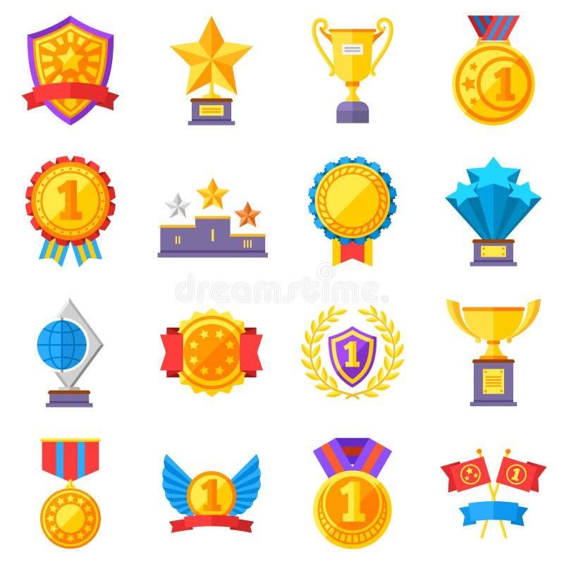 Trofeum medale i wygrane tasiemkowe sukces ikony Wygrana nagradza wektorowych zwycięzców symbole royalty ilustracja