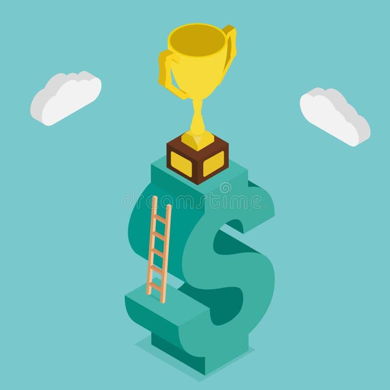 Trofeum na pieniędzy schodkach Projekt 3d isometric royalty ilustracja
