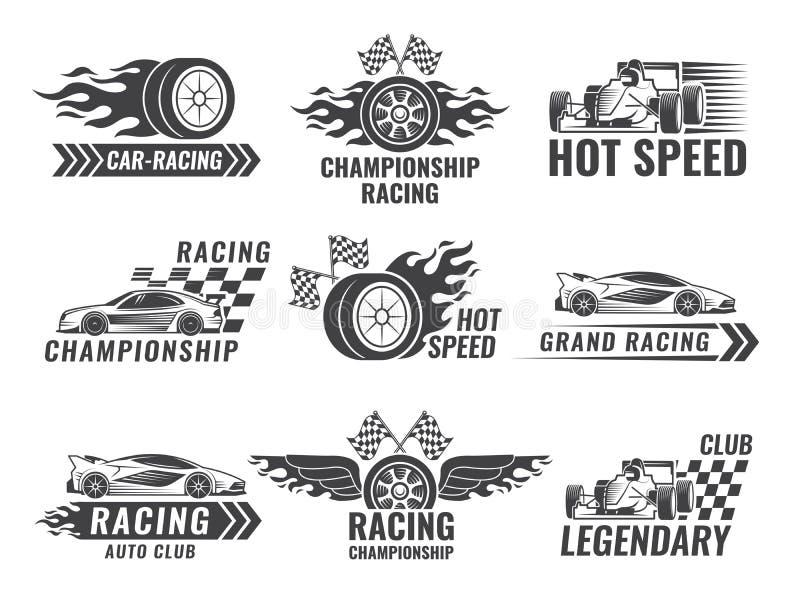 Trofeum, silnik, wiec i inny, symbole dla biegowych sport etykietek ilustracja wektor