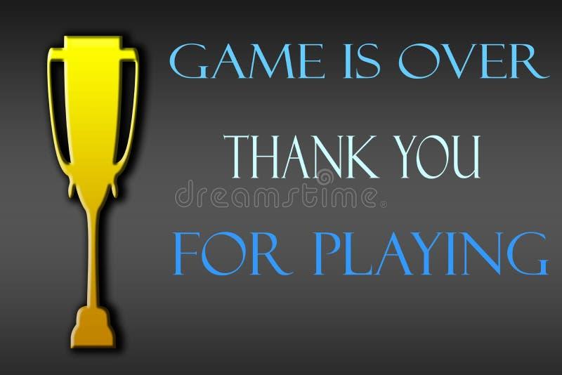 Trofeum symbol i pisze dziękuje dla bawić się grę jest royalty ilustracja