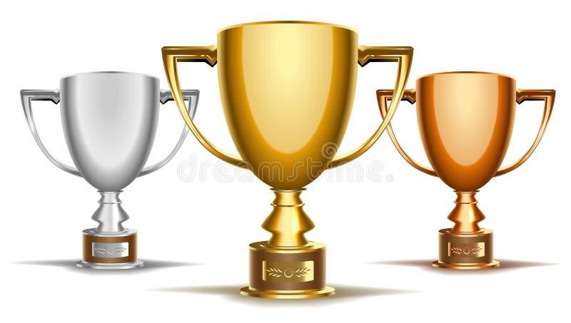 Trofeum turnieju filiżanki set brązowy złota, srebra Wektorowa klamerki sztuki ilustracja royalty ilustracja