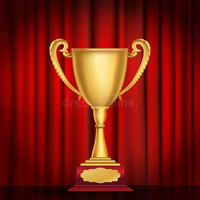 Trofeum złota filiżanka na czerwonym zasłony tle ilustracji