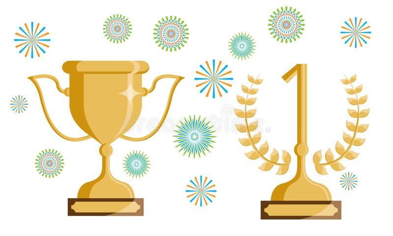 Trofeum 1 z świętowanie elementami i liczba royalty ilustracja