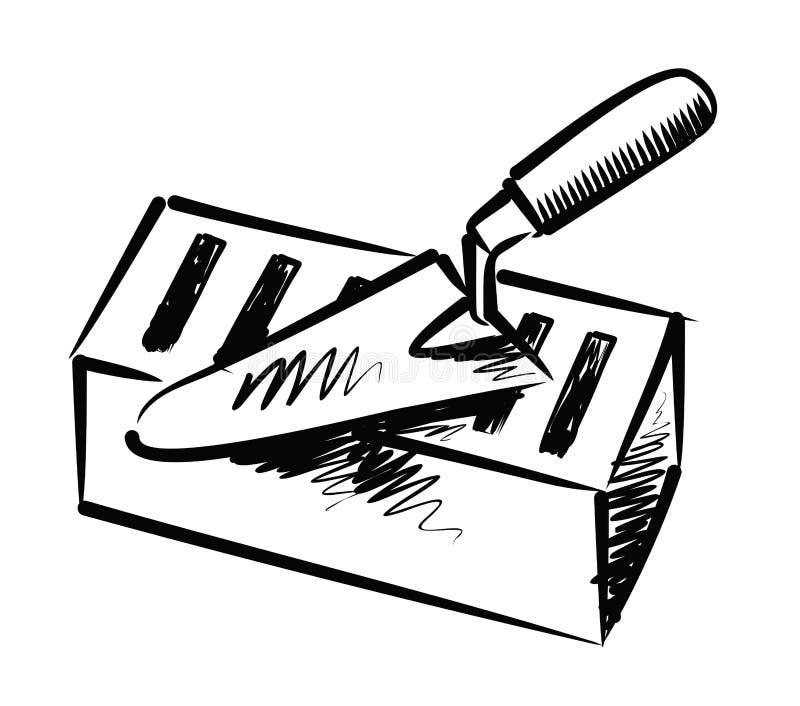 troffel en baksteen vector illustratie illustratie