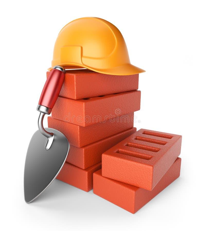 Troffel en bakstenen. De apparatuur van het werk. 3D pictogram stock illustratie