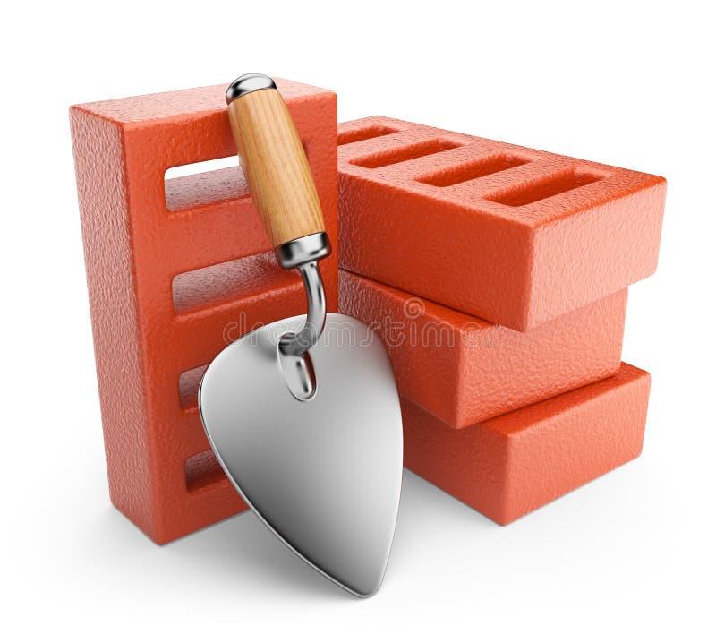 Troffel en bakstenen. Het hulpmiddel van het werk. 3D pictogram   royalty-vrije illustratie