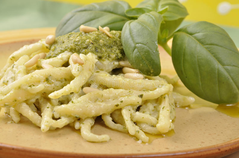 Download Trofie with pesto sauce stock image. Image of genoa, nuts - 24556403