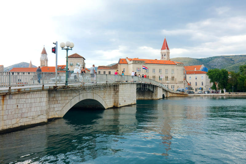 Trogir,镇在克罗地亚 库存图片