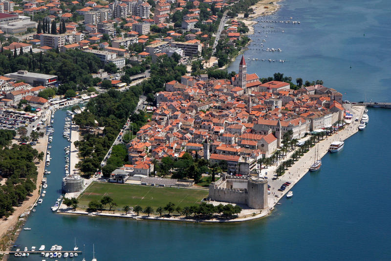 Aerial view of Trogir old unesco town stock photo