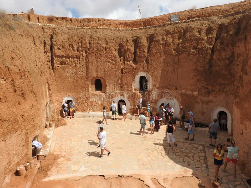 Troglodyte homes and underground caves of the Berbers in Sidi Driss, Matmata, Tunisia, Africa, on a clear day.  stock photography
