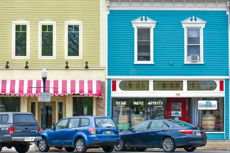 Troie est, bâtiments du centre du Wisconsin photos stock
