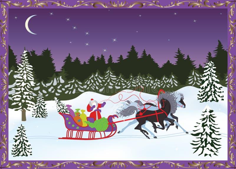 Troika rusa de la Navidad con Santa Claus en el fondo del bosque del invierno de la noche stock de ilustración