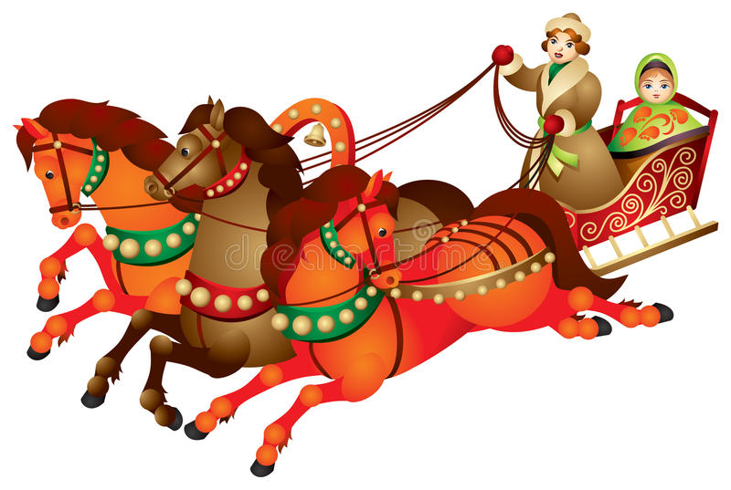 Troika, traditional Russian harness driving royalty free illustration