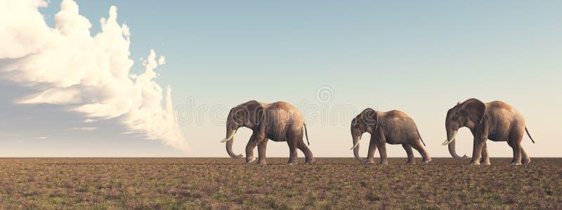 Trois éléphants dans la savane illustration de vecteur