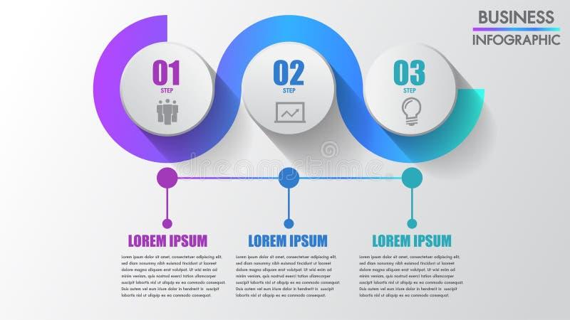 Trois étape-par-étape créatifs modernes d'infographics d'affaires d'étapes peuvent illustrer un travail de stratégie, de déroulem illustration de vecteur