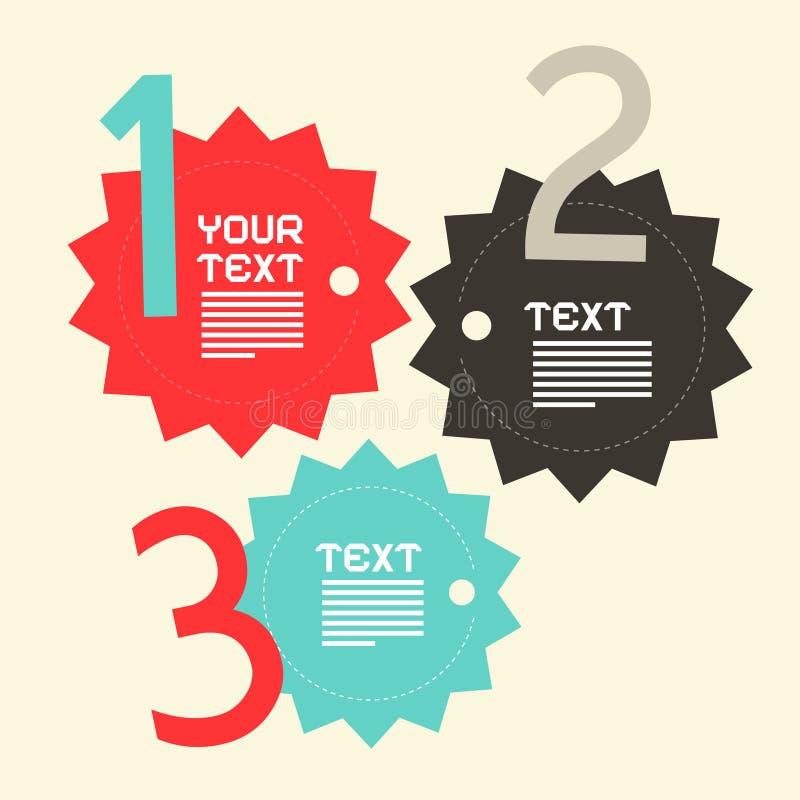 Trois étapes empaquettent la conception plate d'Infographics de vecteur illustration libre de droits