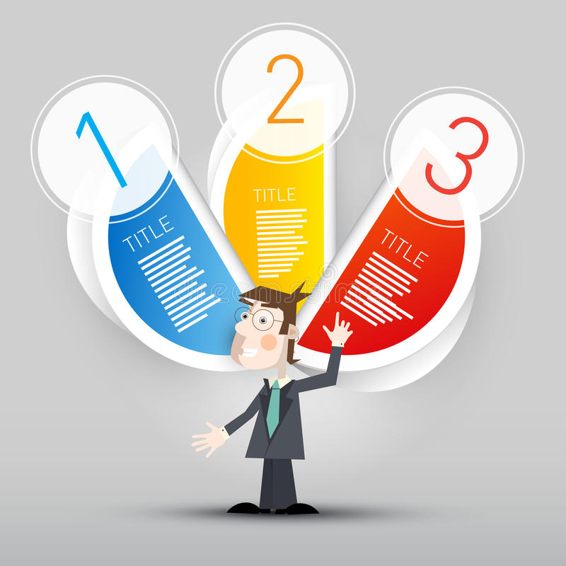 Trois étapes empaquettent le vecteur Infographic avec l'homme d'affaires illustration libre de droits
