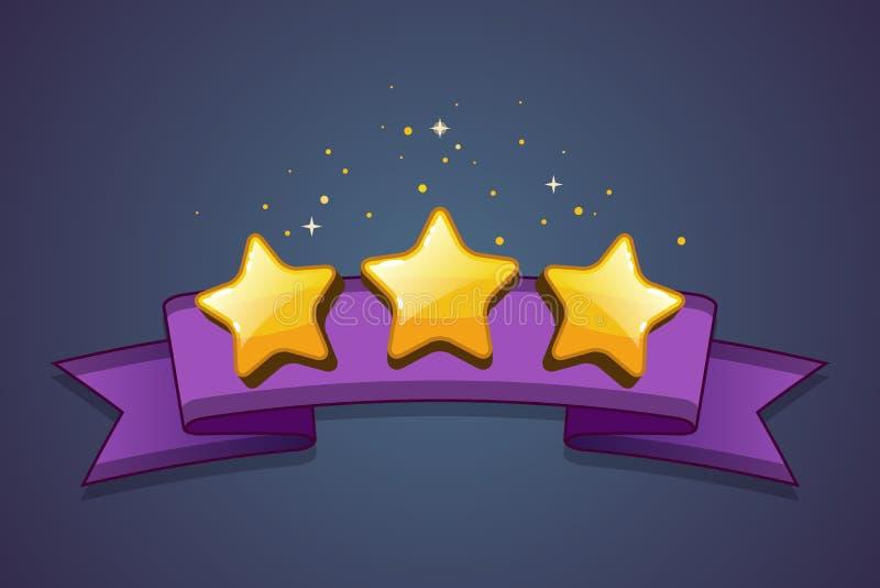 Trois étoiles d'or avec le ruban sur le fond abstrait illustration de vecteur