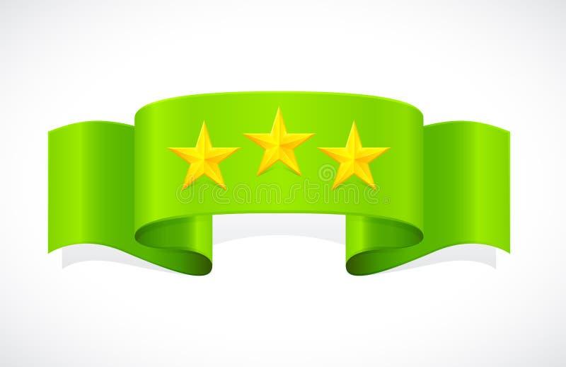 Trois étoiles sur la bande verte illustration libre de droits