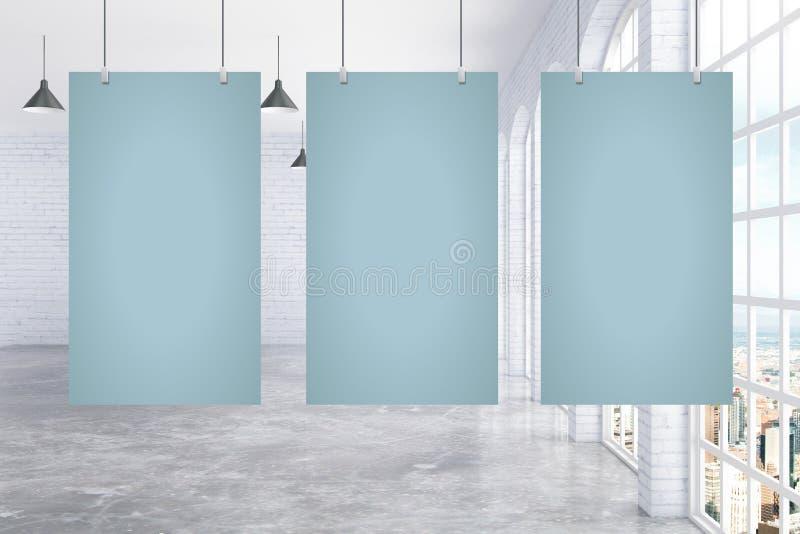 Download Trois Affiches En Blanc Dans La Chambre Illustration Stock - Illustration du intérieur, patrimoine: 77159967