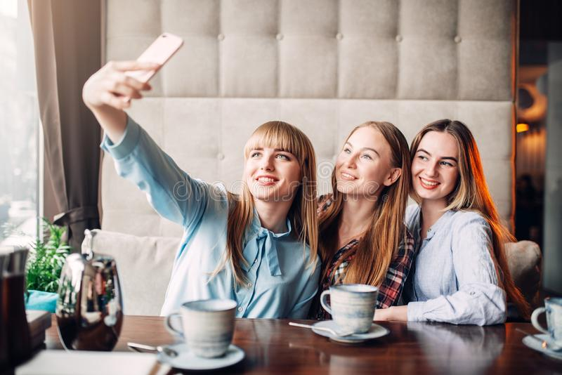 Trois amies fait le selfie sur l'appareil-photo en café photographie stock libre de droits