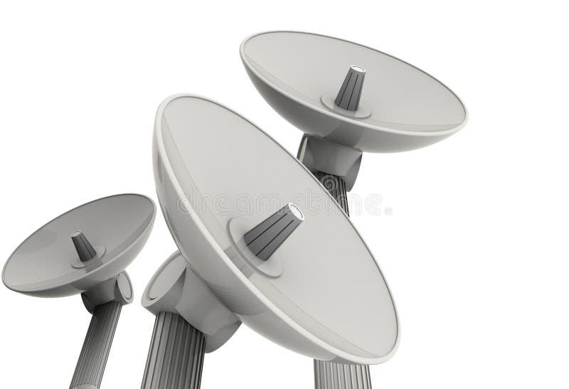 Trois antennes paraboliques illustration de vecteur