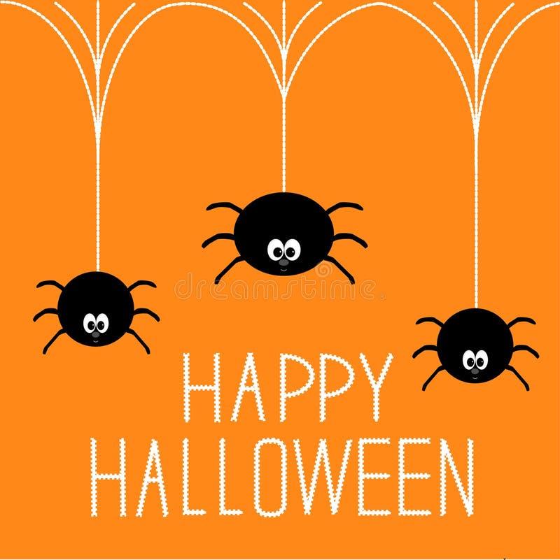 Trois araignées accrochantes. Carte heureuse de Halloween. illustration de vecteur