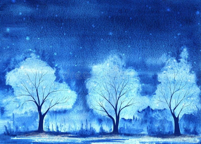 Trois arbres blancs enneigés Paysage hivernal Branches et tronc légers et gracieux Ciel bleu foncé La neige en flocons tombe Main illustration stock
