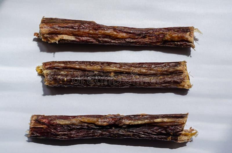 Trois bâtons mous de despote Oesophage de boeuf sec  pour des animaux familiers Option horizontale de disposition Fond blanc Tir image libre de droits
