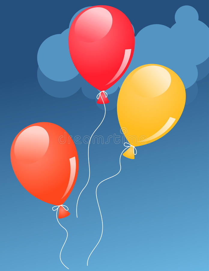 Trois baloons en ciel illustration libre de droits