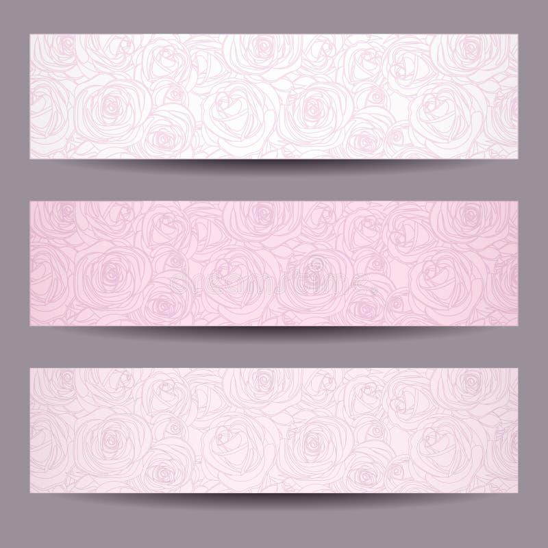 Trois bannières avec des découpes des roses. illustration libre de droits